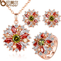 Wholesale Bamoer K Gold Plated Wedding Jewlery Sets with AAA Multicolor Cubic Zircon for Women High Quality Bridal Jewelry