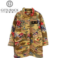Wholesale New Girls Spring amp Autumn Trench Coat Childrens Camouflage Cotton Coats Kids Print Floral Outwear Fashion Brand LC126