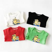 Wholesale 100pcs New Arrival Kids Cartoon Despicable Me Design Round Minion Collar Hoodies Children Wear Tshirt Kids Sweatshirt Clothes