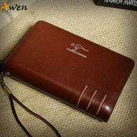 Wallets Men Others Wholesale-Awen-hot sell new arrival genuine leather mens clutch wallet,famous brand men purse,big capacity brown black leather clutch bag