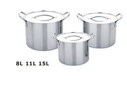 Wholesale-FREE SHIPPING 8L 11L 15L pots in one soup pot water pots 3pcs stock pot set stainless steel high pots