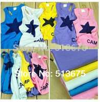 Wholesale New pc Summer children s clothing factory candy colored star sleeveless boy vest tank
