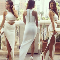 Cheap Wholesale-New 2015 Women White Bodycon Dress 2 Piece Bandage Dress Celebrity Sexy Clubwear Cutout Long Dresses Sexy Club dresses Vestidos