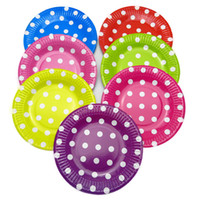 Wholesale quot Round Paper Plate Dishes Striped Polka Dot Birthday Decor Party Supplies Colorful Paper Plate Disposable
