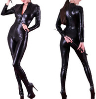 Wholesale New Arrival Adult Unisex Sexy Cool Faux Leather Bodysuit Black PU Bondage Zentai Catsuit Female Pole Dance Clubwear Leotard