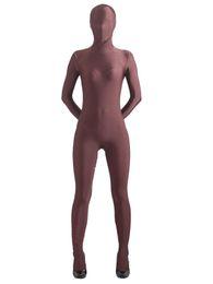 2017 trajes de cuerpo de spandex al por mayor Venta al por mayor BetterParty-Brown Skin lycra de cuerpo completo traje de spandex Zentai Cosplay Morph Body trajes de cuerpo de spandex al por mayor Rebaja