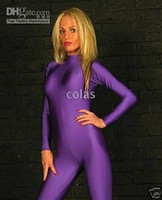 Wholesale Details about Excellent Lycra zentai spandex sexy catsuit Purple No Hood Hand