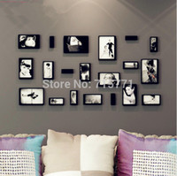 Cheap Free shipping 10 pcs lot New 3D wooden Photo frame home decoration removable wall sticker home decor DIY picture frame