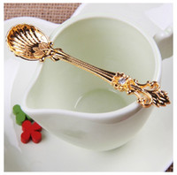arabic coffee sets - Set Fashion Alloy Surface Coffee Scoops Mini Arabic Royal Style Spoon Retro Alloy Plating Tableware Cooking Tool cm