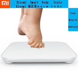 Al por mayor-Xiaomi Báscula inteligente Mi Báscula grasa corporal Salud Analizador de Bluetooth para el iPhone 4S / 5 / 5S / 6/6 Plus Android 4.4 iOS7.0 encima