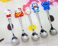 Cheap Wholesale-Kawaii Cartoon Silicone DOLL Kitty Etc. + Stainless Steel Spoon Baby Kid's Dining Spoon Lunch Soup Ladle Spoon Ice Cream