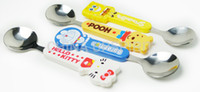 baby soups - New arrival cute stainless steel plastic handle KT cartoon small dinner soup spoon for kids baby children