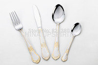 beautiful dinner sets - Gold plated mirror polish beautiful flower cutlery set flatware sets tableware dinnerware dinner knife spoon fork