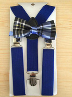 Cheap Wholesale-for Boys Girls Kids Elastic Blue Suspender and Bow Tie Sets Free Shipping