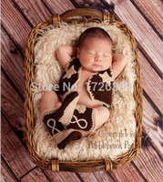 newborn vests - New Baby clothing Cowboy Boots and Vest Set Crochet Pattern Infant Costume Outfit Knitted Newborn Photography Photo Prop