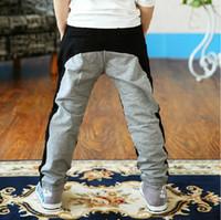 Wholesale years big boys pants new autumn fashion spliced black and grey harem sports kids pants cotton pantalon garcon
