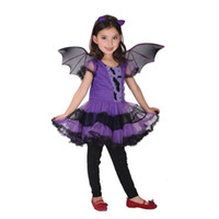 bat wings fancy dress - Fancy Masquerade party bat cosplay dress witch costume Halloween evening party purple costume with wing headband Merry Christmas