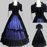aristocrat dresses - Short Sleeve Floor length Ink Blue Satin Velvet Aristocrat Lolita Dress