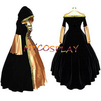 Wholesale New Arrival Long Golden Sleeve ROCOCO Ball Grown Gothic Medieval Victorian Black Dress Costume With Golden Hem