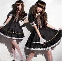 al por mayor gótica hermosa-Al por mayor-Nueva manera y por encargo de la fantasía de manga corta hasta la rodilla Hermoso vestido del traje del algodón Gothic Lolita