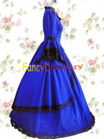 belle corset - Elegant Blue Long Corset Princess Gothic Lolita Dress Medieval Southern Belle Ball Gown Halloween Women Costume V036