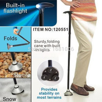 Cheap Wholesale-Foldable Walking Stick With 3 LED,Strong Outdoor Adjustable Lightweight Folding Cane Bastones Senderismo for old people SE010