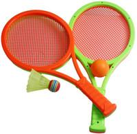 Al por mayor de (2 raqueta y la bola 2) juguetes de la seguridad de los niños niño niños pistas de bádminton al aire libre juego de deportes