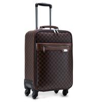 Wholesale Hot Sale Guaranteed Designer Luggage Road Bags Women Travel Bags Unisex Trolley Vintage Plaid PU Suitcase On Wheels