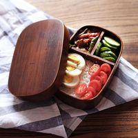 Wholesale Japanese bento boxes wood lunch box handmade natural wooden sushi box tableware bowl J122