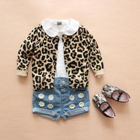 baby wool cardigan - Brand Baby Girl Clothing Kids Leopard Print Cardigan Cotton Wool Knitted Sweater Spring Autumn Outwear Roupa Infantil Casco