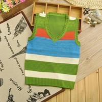 Wholesale New October Solid color textile stripe boy vest v neck sweater knitted vest children s outfit