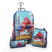 baby suitcases - Set Baby Boys Cartoon Luggage Bag Suits D Pattern Children s Spiderman Trolley Case Set Kids Wheeled Travel Case