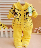 baby trend - autumn winter baby sweater sets cute baby girls sweater cotton Infant sweater coat pants trend baby suit