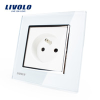 ac wall outlets - Livolo New Outlet French Standard Wall Power Socket VL C7C1FR White Crystal Glass Panel AC V A