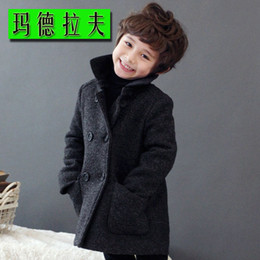 Wholesale Winter Children s Woolen Double Breasted Overcoat Boys Cold proof Parks Best Christmas Gift For Kids For Height