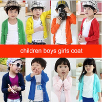 Wholesale Children s clothes knitted cotton candy colored air conditioning in spring and autumn coat Cardigan Sweater proof clothes