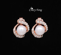 Cheap Wholesale-Free Shipping Rose Gold Plated Earrings High Quality Pearl Clip On Earring Fashion Costume Jewelry Earing for Women
