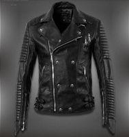 Cheap Wholesale-2015 New Men'S Winter Jacket Lapel Machine Wagon Alloy Skull Oblique Zipper Short Jacket High Quality Casual Leather Jacket