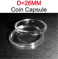 Wholesale Capsule Wholesaler - Wholesale-fit direct D=26MM wholesale 100pcs PS plastic clear coin Dime capsule display case COIN CAPSULES HOLDER Extra For Broken Ones
