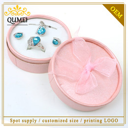 Wholesale-12pcs lot New Design 8.5x3.7cm Lovely Pink Paper Round Wedding Ring Box Organza Bow-knot Jewelry Packaging Gift Box Cajas Joyas