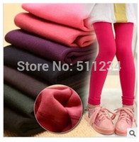 Wholesale PC New Kids autumn winter Solid Leggings Inside Plus Velvet Fashion Children Pants Warm Girl Leggings