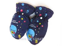baby ski gloves - Retail children kids winter warm ski gloves boys girls babies cartoon sprot thick gloves mittens waterproof snow gloves Y