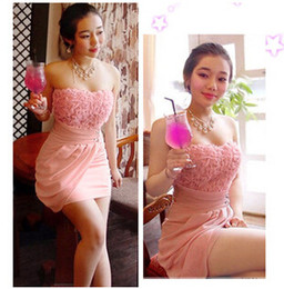 Wholesale Three dimensional explosion models in Europe and America pink roses sexy cute mini dress Tee Dress