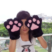 Cheap Wholesale-1 Pair Cat Kitten Paw Claw Gloves Plush Anime Cosplay Halloween Party Costume 5 Colors