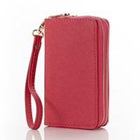 ans key - New women double zipper key case genuine cow leather multi function wristlet clutch bag ANS CL