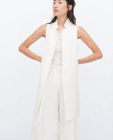 Wholesale Summer Style Fashion Vest Women Sleeveless Pockets gilet Long Waistcoat White Black colete feminino