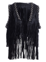 beaded trim fringe - Women Stud Tassel Fringe Black Waistcoat Faux Leather Punk Gilet Vest Cool Tough Girl Tiered Tassel Beaded Rivet Trim Outwear