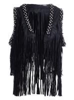 beaded tassel trim - Women Stud Tassel Fringe Black Waistcoat Faux Leather Punk Gilet Vest Cool Tough Girl Tiered Tassel Beaded Rivet Trim Outwear