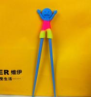 Wholesale New supercute rainbow silicone cartoon head Chopsticks children foreigners educational Training chopsticks freeshipping