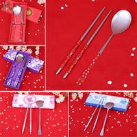 bento box sets - Chinese Style Chopsticks Spoon Creative Kitchen Cutlery Set Bento Box Flat